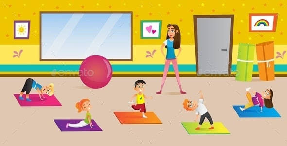 Kids Yoga in Different Poses with Teacher - Sports/Activity Conceptual