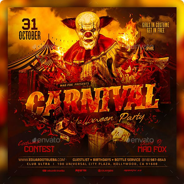 Carnival Evil Clown Halloween Party Flyer
