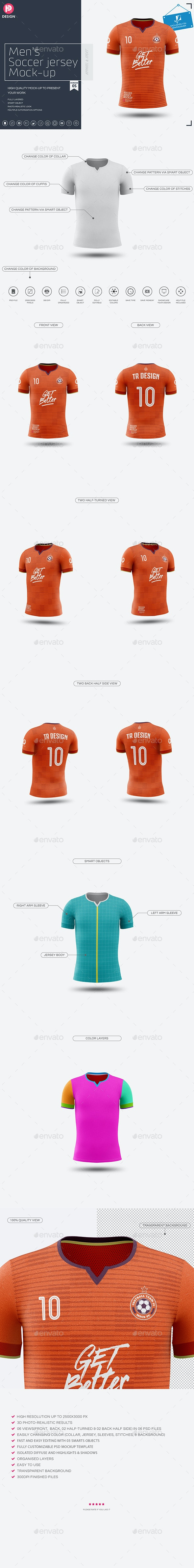 Men's Soccer Jersey Mockup V5 - Miscellaneous Product Mock-Ups