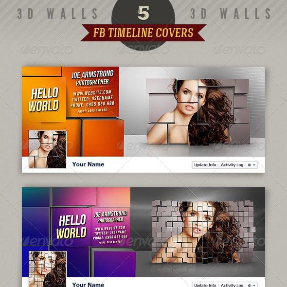 5 Facebook Timeline Covers - 3D Walls