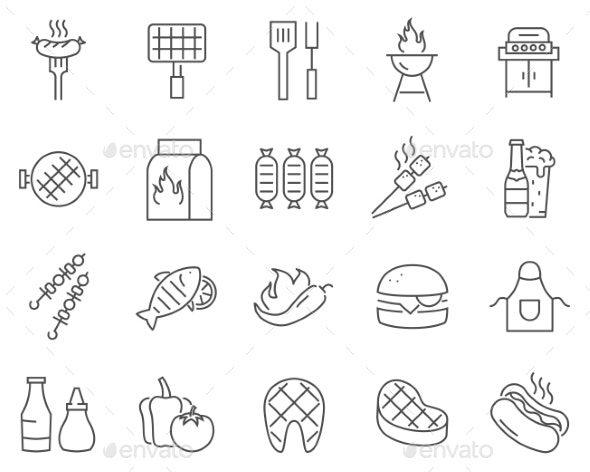 Set of Barbecue Line Vector Icons - Food Objects