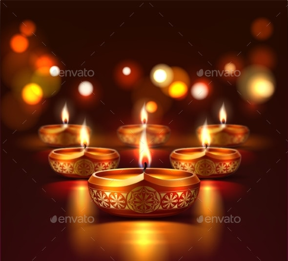 Vector Diwali Festival Poster with Glowing Candles - Religion Conceptual