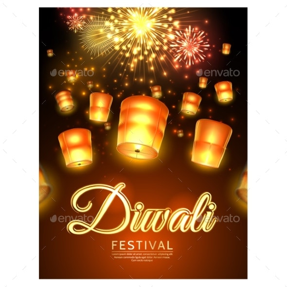 Vector Diwali Festival Poster with Flying Lanterns - Religion Conceptual