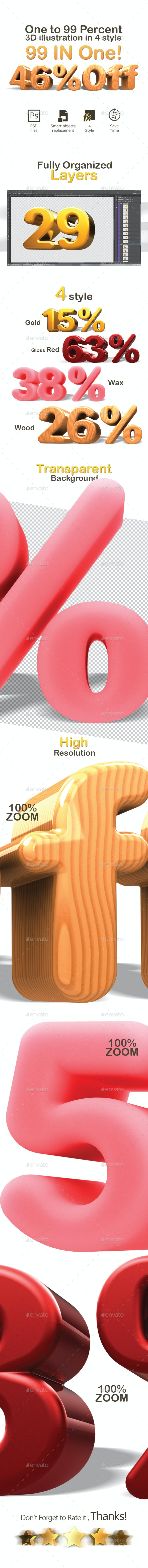 one to 99 percent 3D illustration - 3D Renders Graphics