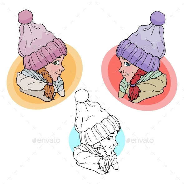Baby Girl in Winter Hat - People Characters