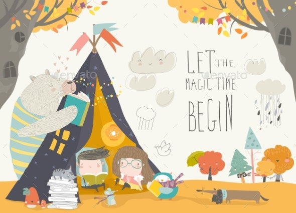 Kids Reading Book with Animals in a Teepee Tent - People Characters