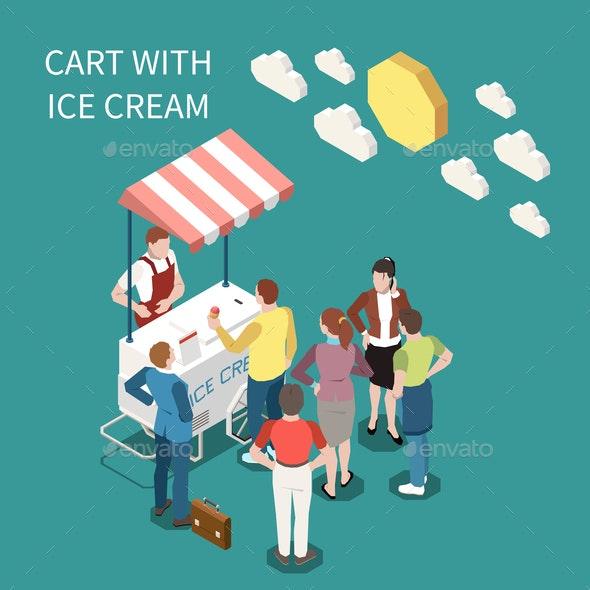 Ice Cream Cart Isometric Background - Miscellaneous Vectors