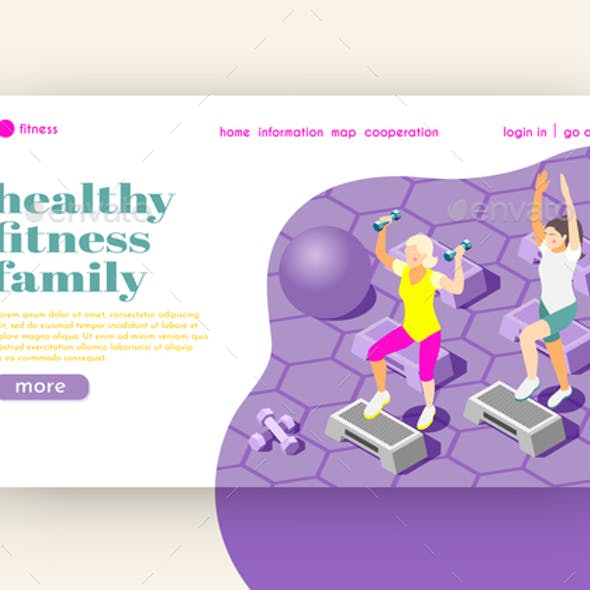 Healthy Family Fitness Isometric Landing Page