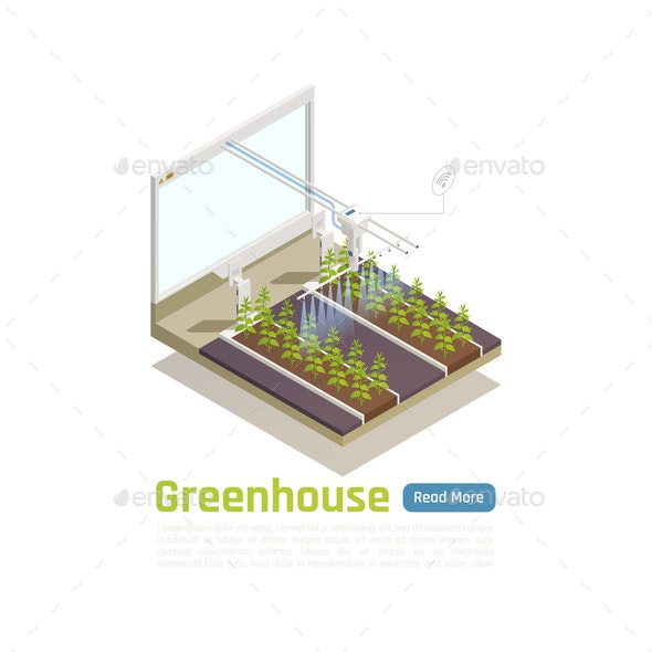 Smart Greenhouse Isometric Composition - Computers Technology