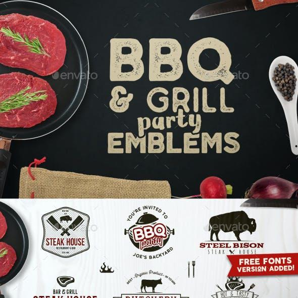 BBQ Logos & Grill Emblems Set
