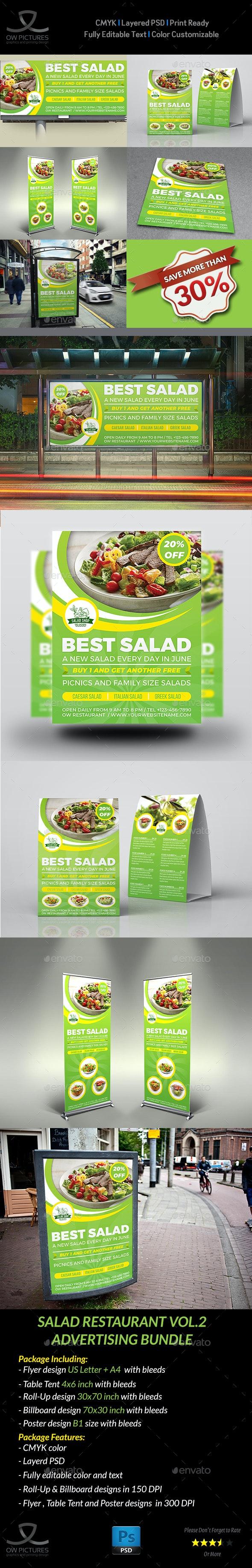 Salad Restaurant Advertising Bundle Vol.2 - Signage Print Templates