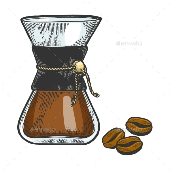Coffeemaker Sketch Engraving Vector - Food Objects