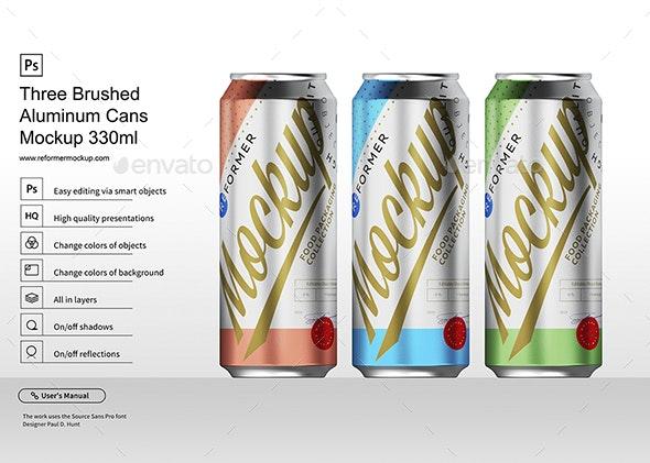Three Brushed Aluminum Cans Mockup 330ml - Product Mock-Ups Graphics