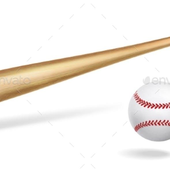 Wooden Baseball Bat and Ball Realistic Vector