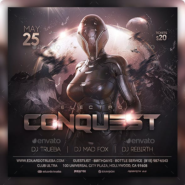 Conquest Electro Night Party Flyer