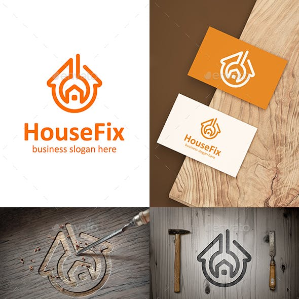House Fix Home Fixing Logo with Wrench Symbol Outline