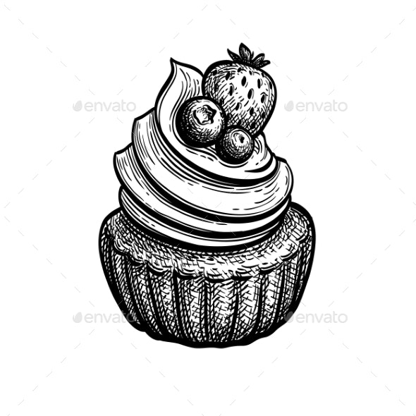 Ink Sketch of Rum Baba - Food Objects