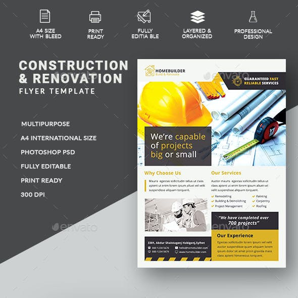 Construction Business Flyer Templates From Graphicriver