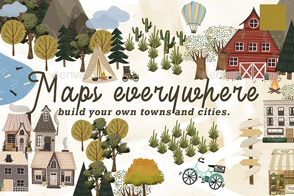 Maps Everywhere map creator clip art - Scenes Illustrations