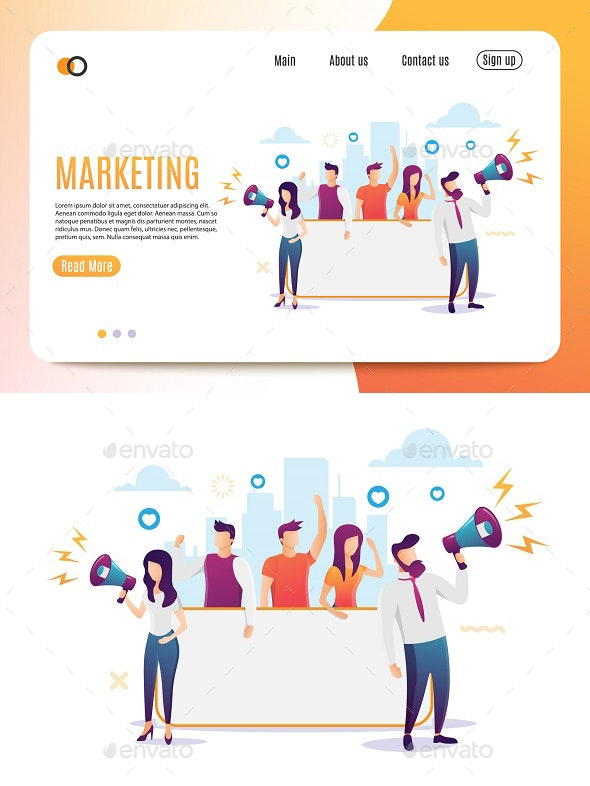Marketing Flat Style Banner - Concepts Business