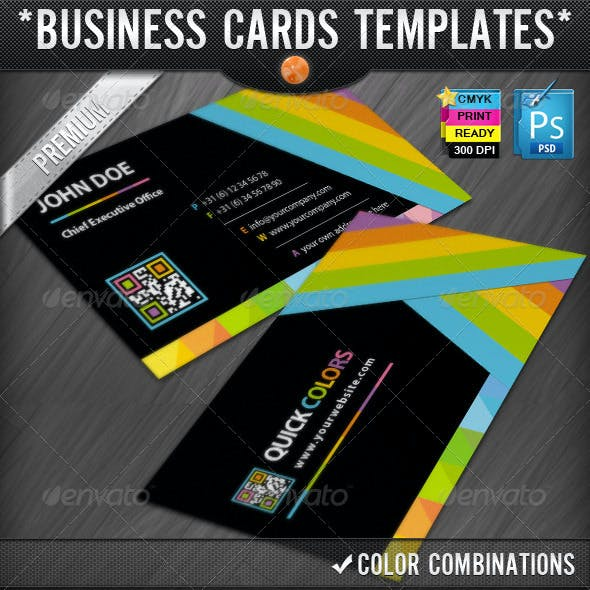 Quick Colors Rainbow QR Code Business Cards Design