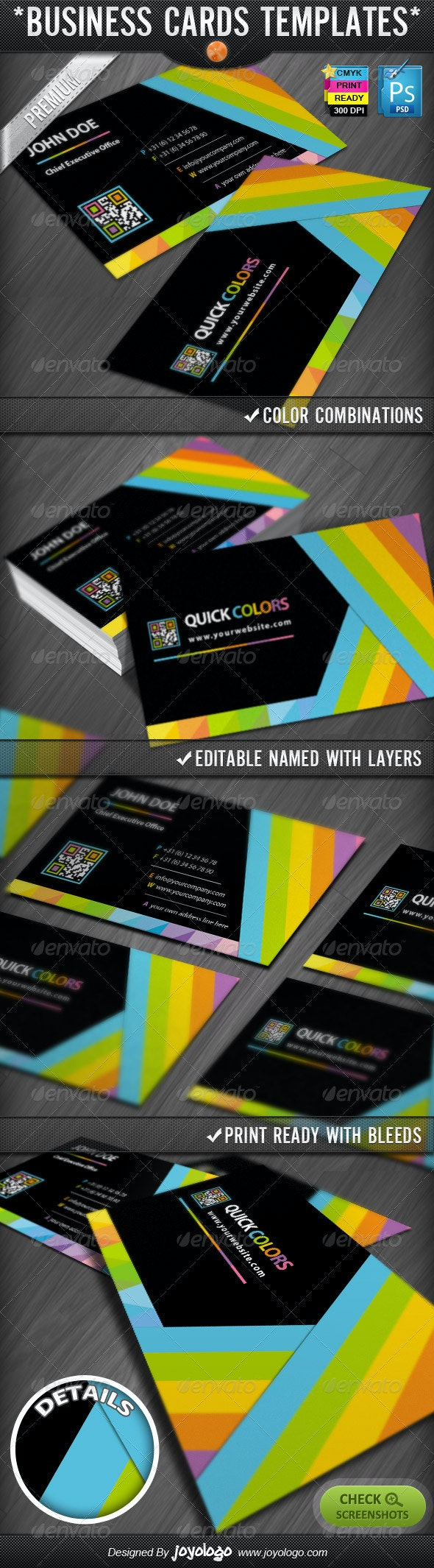 Quick Colors Rainbow QR Code Business Cards Design - Creative Business Cards