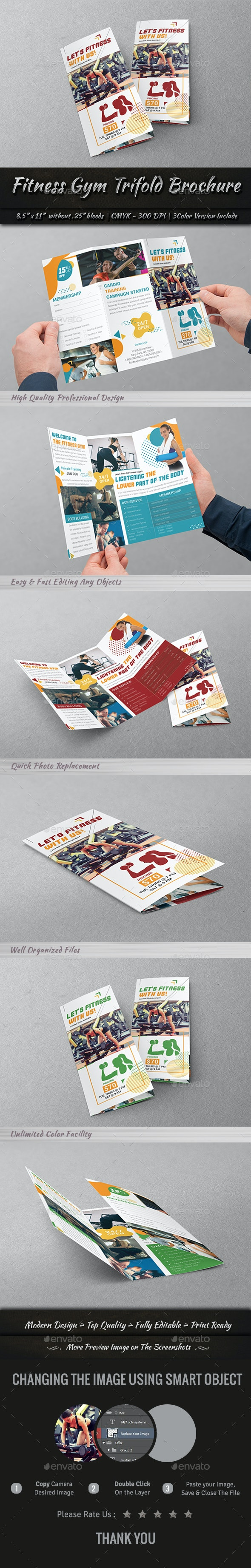 Fitness Gym Trifold Brochure - Brochures Print Templates