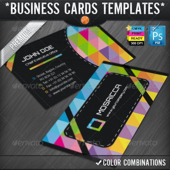 Colorful Mosaics Abstract Business Cards Designs
