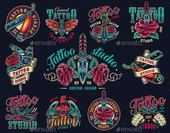 Vintage Tattoo Studio Colorful Prints - Miscellaneous Vectors