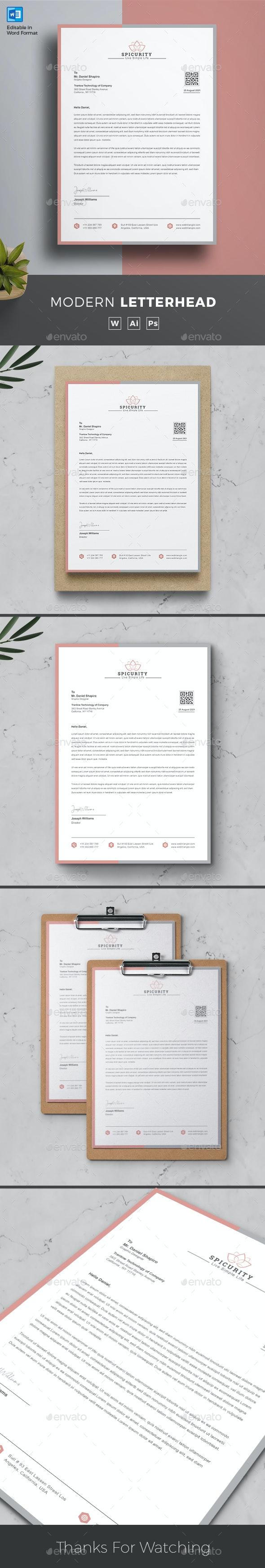 Letterhead Word - Stationery Print Templates