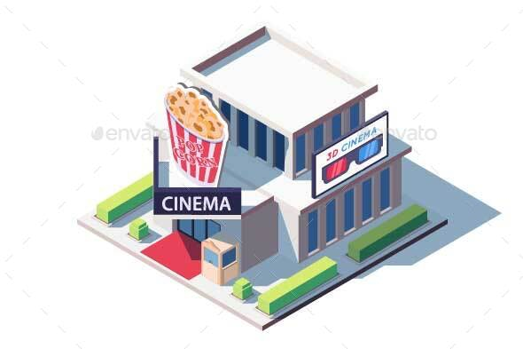 Isometric Public Cinema Building with Popcorn - Buildings Objects