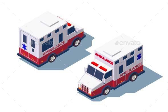 Isometric Ambulance Medical Car for First Aid - Health/Medicine Conceptual