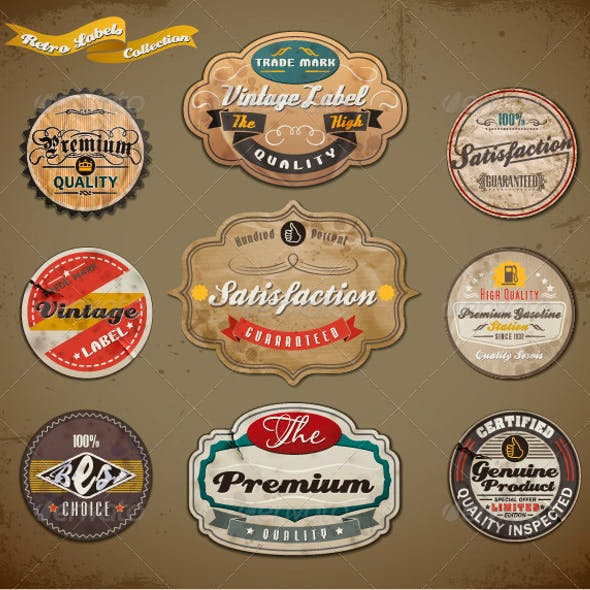 Retro Styled Old Papers Label Collection