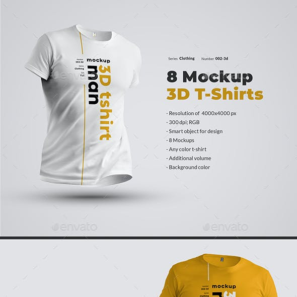 8 Mockups T-Shirts 3d Man.