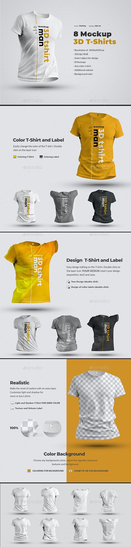8 Mockups T-Shirts 3d Man. - T-shirts Apparel