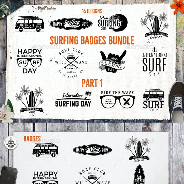 Summer Surfing Badges & Elements