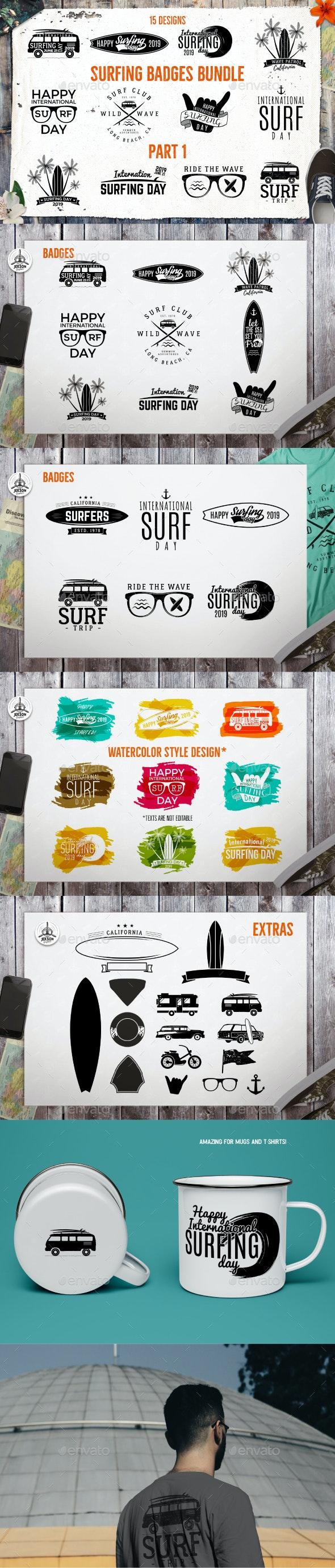 Summer Surfing Badges & Elements - Badges & Stickers Web Elements