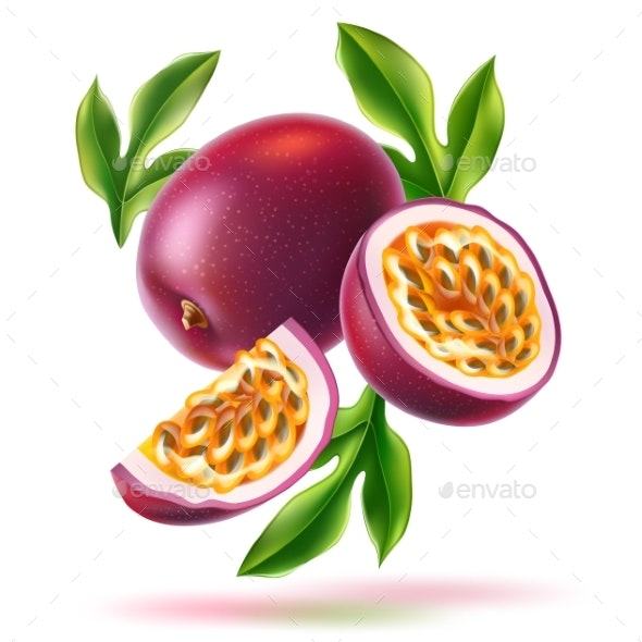 Vector Realistic Passionfruit with Seed Green Leaf - Food Objects