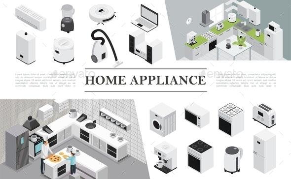 Isometric Home Appliances Composition - Miscellaneous Vectors