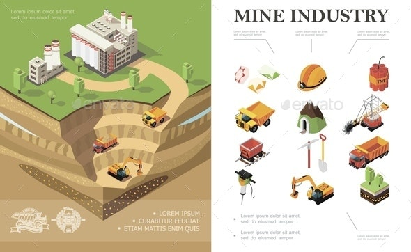 Isometric Mining Industry Concept - Industries Business