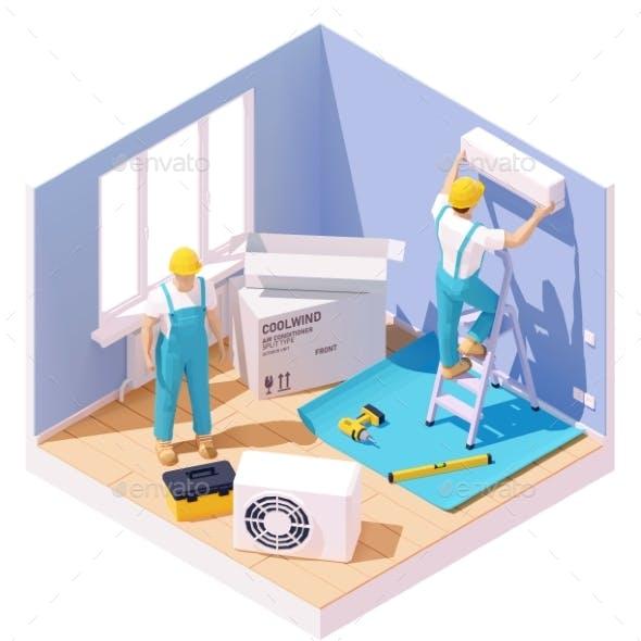 Vector Isometric Air Conditioner Installation
