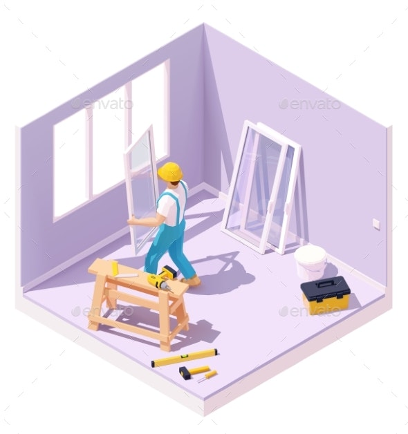 Vector Isometric Worker at Windows Installation - Services Commercial / Shopping