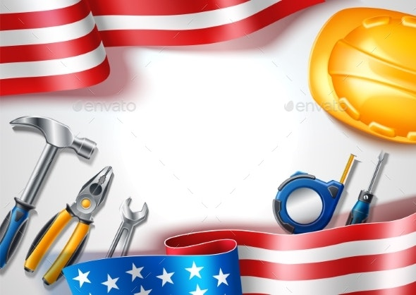 Vector Happy Labor USA Day Poster Industrial Tools - Industries Business