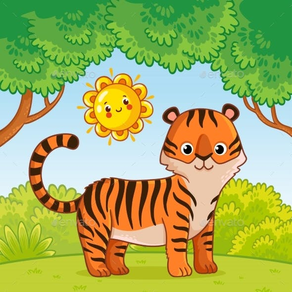 Tiger Stands in the Forest in the Summer