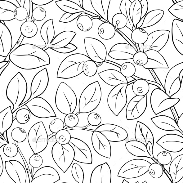 Bilberry Branches Vector Pattern - Food Objects