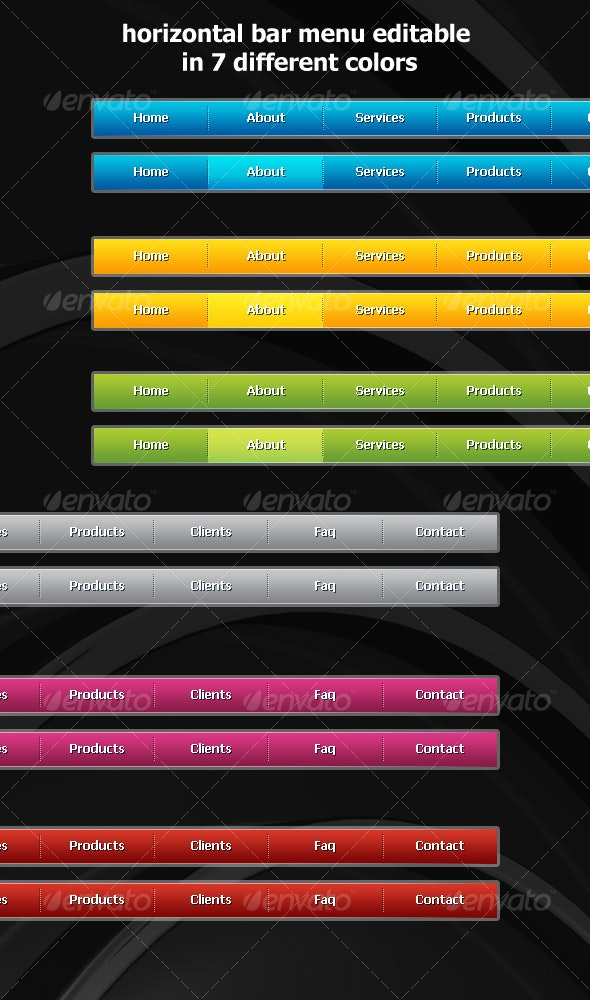 Horizontal Navigation Menus - Buttons Web Elements