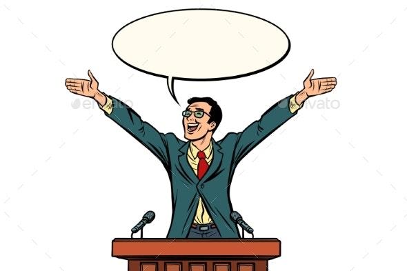 Businessman or Politician Speaker Speaking - People Characters