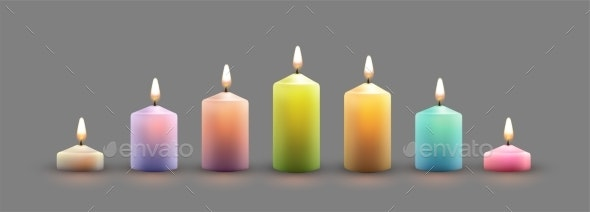 Color Burning Candles - Man-made Objects Objects