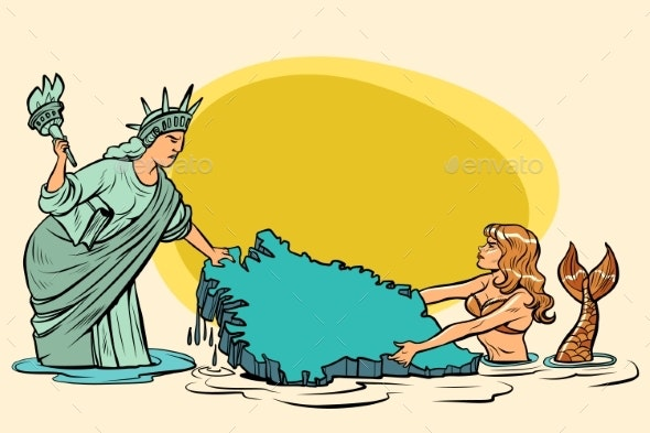 Caricature USA and Denmark Are Pulling Greenland - Miscellaneous Conceptual