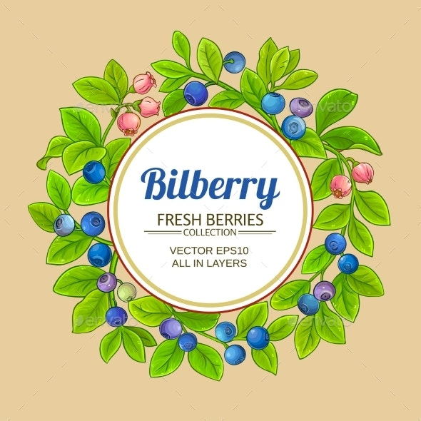 Bilberry Branches Vector Frame on Color Background - Food Objects